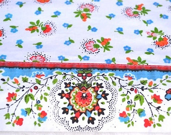 Vintage Bed Sheet - Petite Flowers in Orange and Blue - Twin Flat