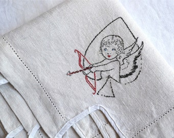Vintage Linen Tablecloth - Card Game Table  Embroidered Cupid Angels