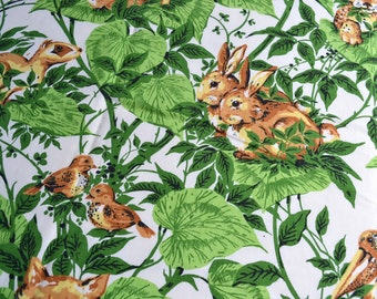 Vintage Fabric - Forest Animals and Green Leaves - 45 x 47