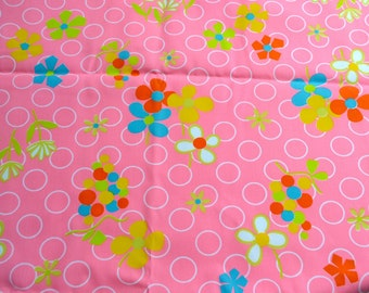 Vintage Fabric  - Mod Flowers on Pink Broadcloth