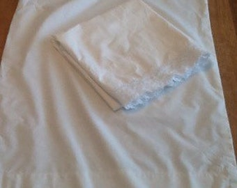 Vintage Pillowcases with Wide  Crochet Edge