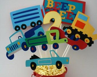 Cars, Trucks, Beep Beep centerpiece