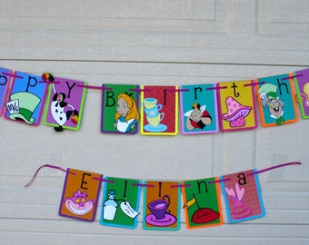 Alice in Wonderland Character/icon banner, character on each banner panel, birthday banner