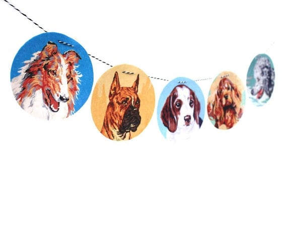 Vintage Paint By Number Dog Garland, photo reproductions on felt, childs room decor, collie, boxer, beagle, springer, poodle