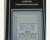 Sale- WonderArt Stamped Sampler, Cross Stitch, Embroidery, Crafting, 11x14 in., Unopened Package, HOME is LOVE