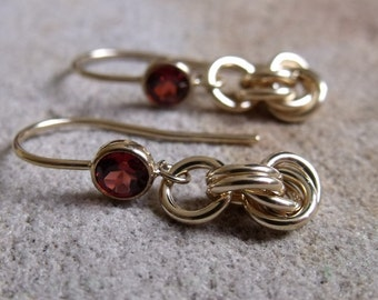 Gold Filled Garnet and Twisted Ring Earrings