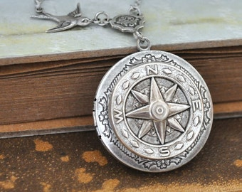 silver locket necklace, compass locket - GUIDANCE - antiqued silver plated locket necklace steampunk