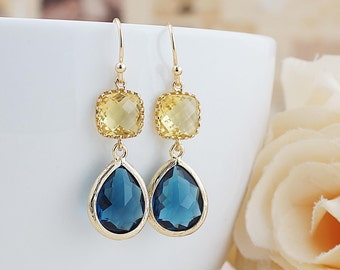 Citrine Yellow and Montana blue Glass dangle earrings drop earrings Wedding Jewelry Bridesmaid Earrings Bridesmaid gifts Bridesmaid jewelry