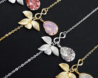 Infinity Bracelet, Leaf Bracelet, Swarovski Cryatal Bracelet, Friendship Bracelet, Bridesmaid Gifts, Christmas Gift