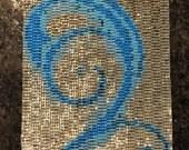 Blue Swirl Peyote Stitch Cuff Bracelet