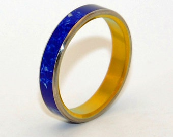 Titanium Wedding Ring, Mens Ring, Sodalite Ring, Womens Ring, Bronze Anodized Ring, Unique Rings - HEART OF STARS
