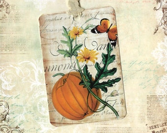 Tags, Vintage Style,  Autumn Tags, Pumpkin, Pumpkin Tags