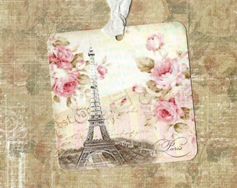 Tags, Vintage Style, Gift Tags, French, Paris, Eiffel Tower, Romantic Tags
