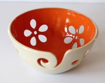 Orange flower Yarn Bowl / Yarn Bowl / Knitting Bowl / Crochet Bowl /Yarn Bowl / Made to Order