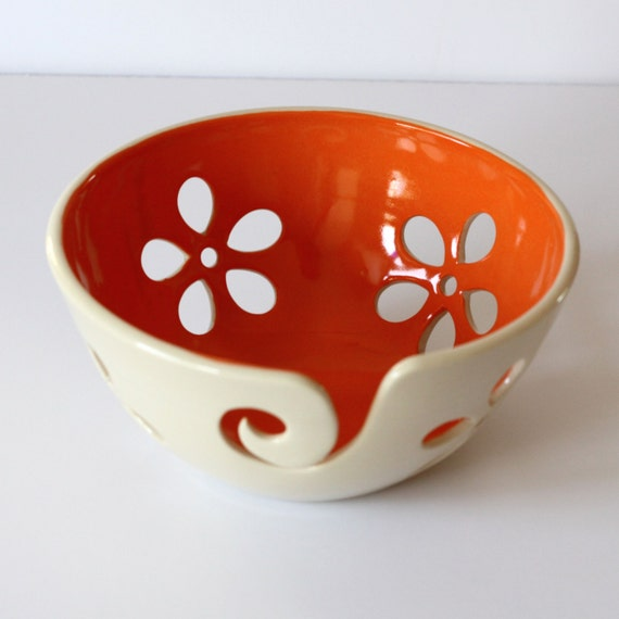 Handmade Orange Flower Yarn Bowl - Made To Order