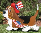 """Made to Order Hand Painted Basset Hound Yard Art - """"George"""" the Patriot"""