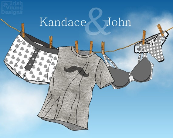 personalized clothesline, laundry room decor, his and hers, hers and hers, his and his, wedding gift,anniversary gift,underwear art,blue sky