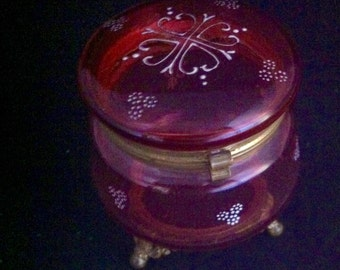 Antique Cranberry Glass Vanity Dresser Jar w/ Decorative Footed Base Victorian Cranberry Glass  ****USA ONLY***