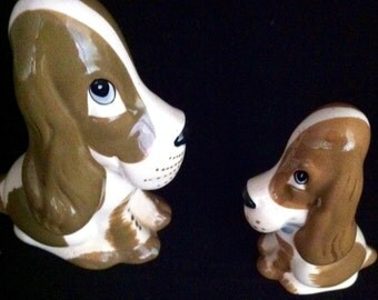 Vintage Szeiler British Ceramic Bassett Hounds