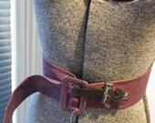 NWT Nan Lewis Grape Pebbled Leather Belt