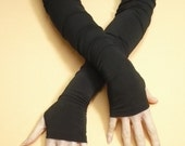 Black Extra long Fingerless Gloves Gothic and Cyber Style, Stretchy Armwarmers, Belly Dance Style, Vampire Wedding, Noir, Fusion DAnce