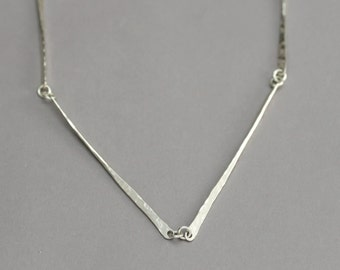 Hammered Silver Bar Necklace, Sterling Bar Chain Necklace, Unique Silver Jewelry, Casual Everyday Necklace, Handmade Jewelry