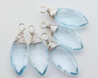 Swiss Blue Topaz Sterling Silver Wirewrapped Briolettes Qty 1