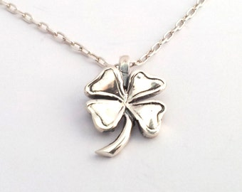 Sterling Silver Shamrock Pendant Silver Four Leaf Clover necklace on Chain Lucky Shamrock Irish Lucky necklace Chain