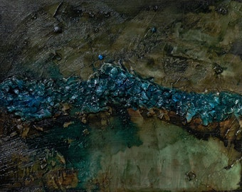 Original Acrylic/Ink Abstract painting Cliff Dwellings