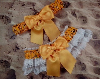 Yellow Bandana Paisley  Yellow Ribbon White Lace Wedding Garter Toss Set