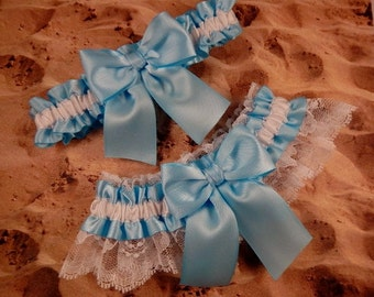 Light Blue Ribbon White Lace Bridal Wedding Garter Toss Set