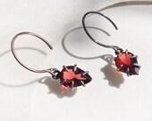 Claw set Garnet Earrings