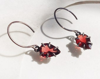 Claw set Garnet Earrings