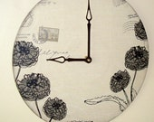 Black and Tan Floral Wall Clock with Typography, Script and Postal Stamps / Recycled Vinyl Record Clock / Unique Wall Decor / 1708