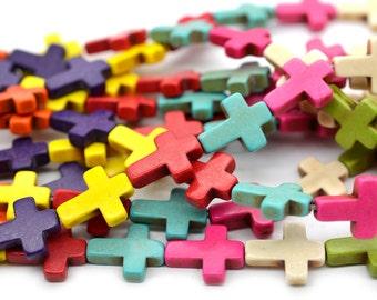 Howlite Cross Beads, 16 x 11mm, 25 pc Strand, Mixed Color, Howlite Beads -B229
