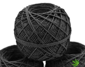 Black Hemp Yarn, 2mm, 275 feet,   Hemp Flax Yarn,  Black  Yarn, Crochet Yarn,  Bulky Yarn, Knitting Yarn