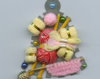 Retro Style Knitting Theme Brooch With Tension Gauge and Mini Balls of Wool