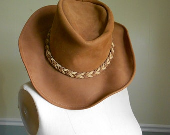Brown Suede Hat / Size Large  Sale