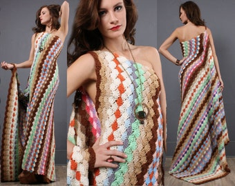 Handmade Crochet Maxi Dress, Urban Chic Dress, Twist One-Shoulder Train Maxi, Gypsy Style Dress, Vintage Chic, Hobo Chic, Bohemian Beach,
