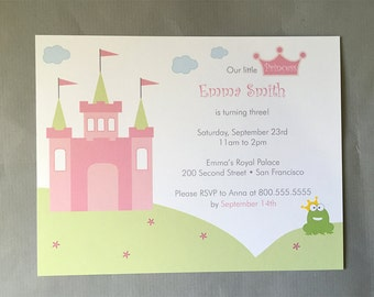 Princess Castle and The Frog A2 Flat Note Birthday Invitations (Choose your envelope color) (Set of 10)
