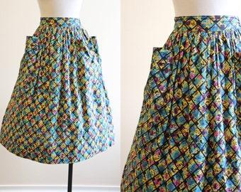 50s Skirt - Vintage 1950s Skirt - Atomic Print Polka Dot Grid Cotton Full Skirt S M - Gridlock