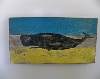 Heavily Distressed Whale on beach colors Wood Wall Hanging
