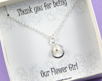 Flower Girl Gift, Thank you for being our Flower Girl Necklace  - Sterling Silver Infinity Necklace Thank You Gift Choose Your Color Pearl