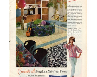 1961 Congoleum-Nairn Vinyl Floors Vintage Ad, Retro Decor, 1960's Decor, Mid Century Modern, 1960's Housewife, 1960's Fashion, Beehive Hair.