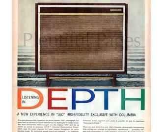 1957 Columbia Phonographs Vintage Ad, Retro Record Player, 1950's Record Player, Mid Century Modern, High Fidelity, 1950's Decor, Retro HiFi