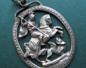 Saint George And The Dragon Antique Religious Pendant 800 Silver  SS36