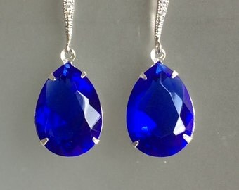 Vintage Sapphire Crystal Earrings