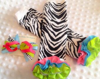 Ruffle Zebra Leg Warmers -  Zebra Hair bow