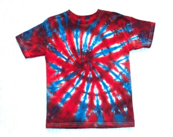 Toddler Tie-dye T-shirt, Size 4, red, white and blue fireworks