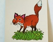 Vintage Flash Card FOX Green Bug Nursery Art Decor Paper Ephemera Bright Colors 1977 Milton Bradley